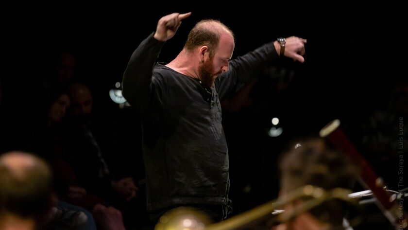 Christopher Rountree conducts the ensemble wild Up on Nov. 10 at the Soraya in Northridge.
