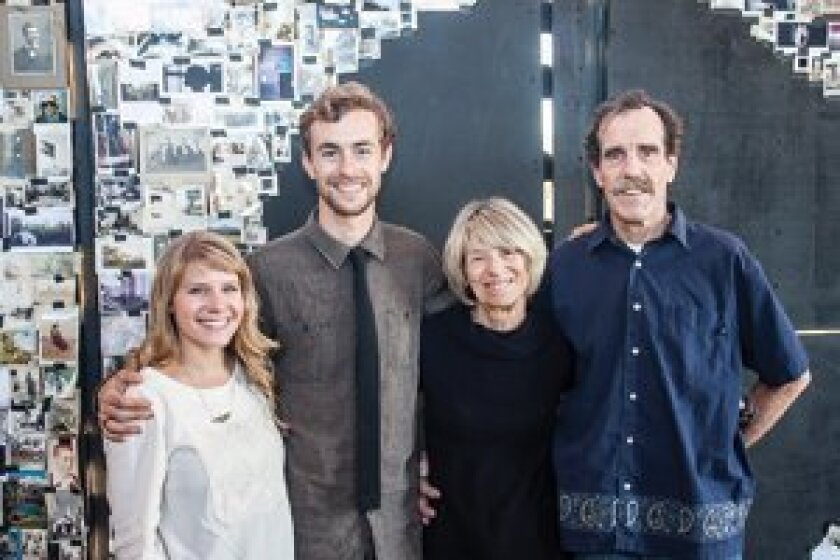 Wes Bruce with his wife Emi Sam Bruce and his parents Darlene and Willy Bruce, outside his hilltop installation at the opening of 'Structures Poetry Humans.'  Photo/Maurice Hewitt