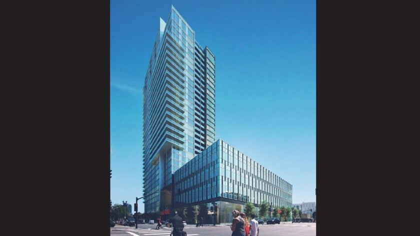The Park & Market project includes a 34-story tower and four-story office/classroom building for UC