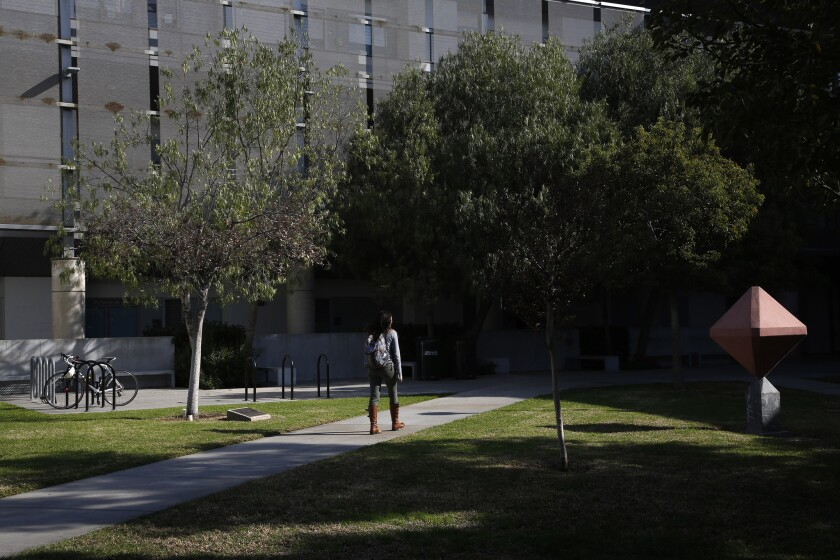 A student walks on the campus of Santa Monica City College. Community college students in California will be able to automatically transfer to nine historically black colleges or universities if they meet academic requirements.