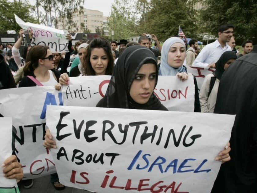 Muslim students and others at UC Irvine participated in a campus protest in 2006 against Israeli polices.