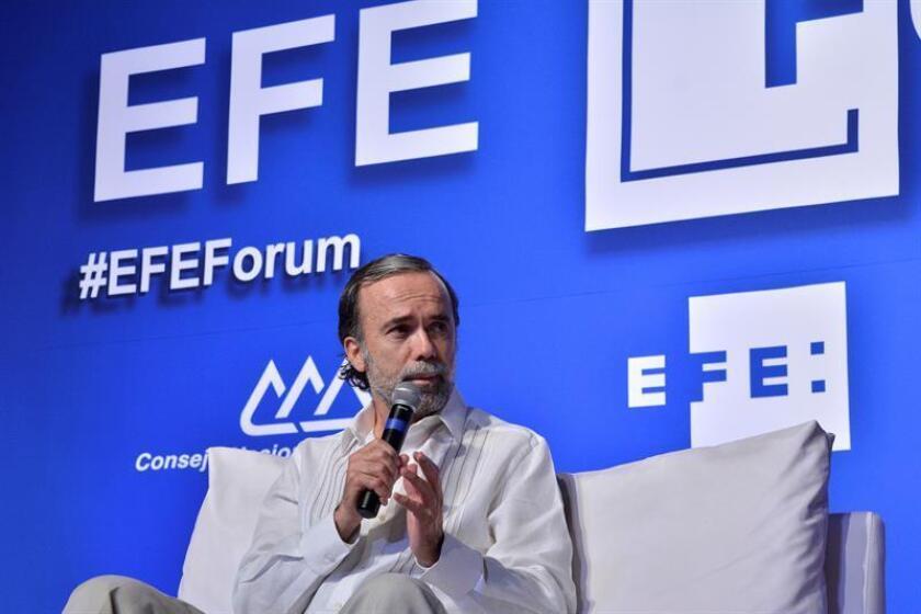 El director general del Consejo Nacional Agropecuario (CNA) de México, Bosco de la Vega, durante su participación en el EFE Forum, este martes en la ciudad de Villahermosa, en el estado de Tabasco (México), donde consideró difícil que el país alcance, en algunos años, la autosuficiencia alimentaria. EFE