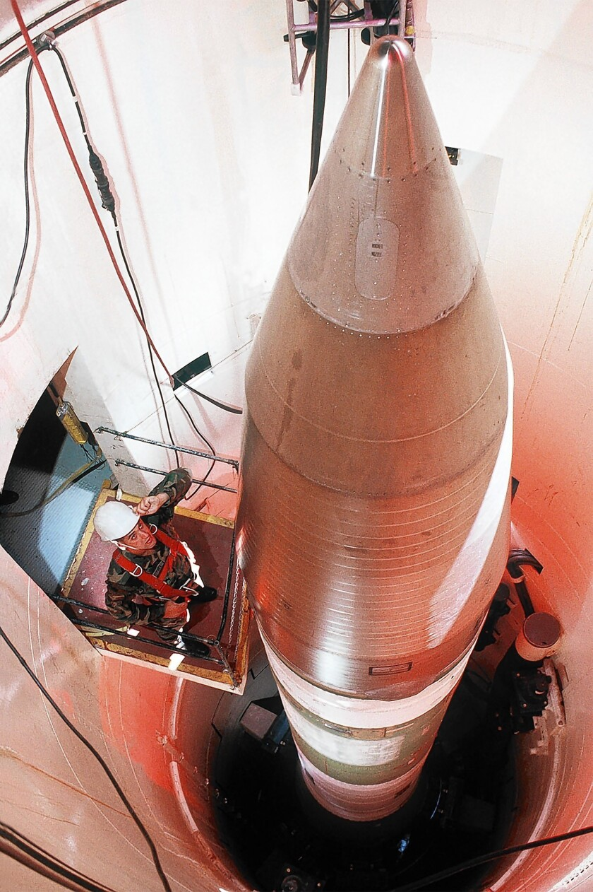 The U.S. keeps 450 Minuteman III missiles at three Air Force bases in North Dakota, Montana and Wyoming.