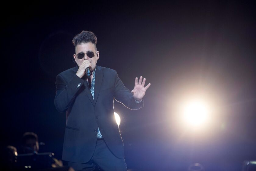 Argentine singer-songwriter Andrés Calamaro performs in 2020.