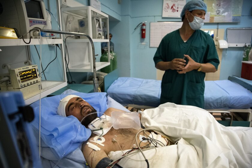 A soldier underwent treatment in May in the intensive-care unit of the National Military Hospital in Kabul, Afghanistan.