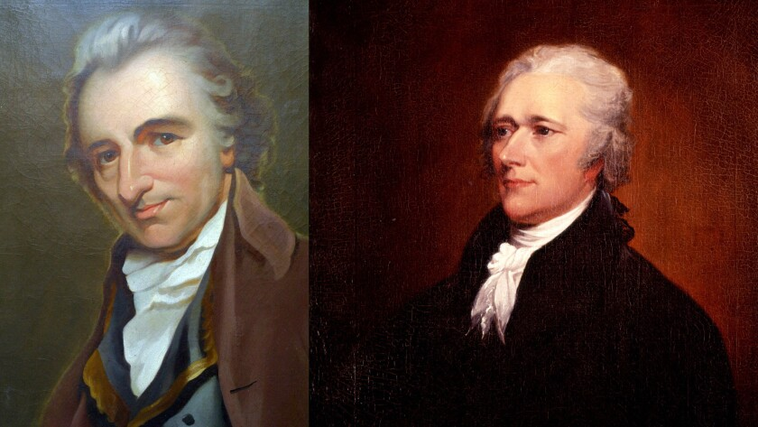 Thomas Paine, left, is a hero of Wilentz's book; Alexander Hamilton, right, a villain.