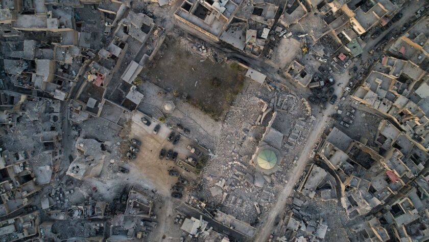 An aerial view of the heavily damaged Nuri mosque in the Old City of Mosul.