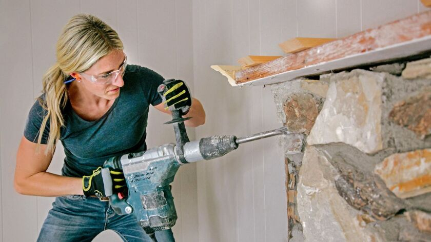 Host Jasmine Roth tackles a forgettable fireplace as she renovates boring O.C. 'burbs on HGTV's