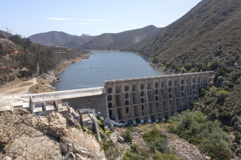 View of the Lake Hodges Dam looking east from the southwest end of the lake.