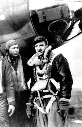A 1943 photo shows Walter Cronkite with members of the 303 Bomber Group before a raid over Germany in February. He was a United Press correspondent in London when the Allies invaded France on D-day. He was chosen to fly with the bomber group, which was supporting the invasion forces on D-Day, June 6, 1944.