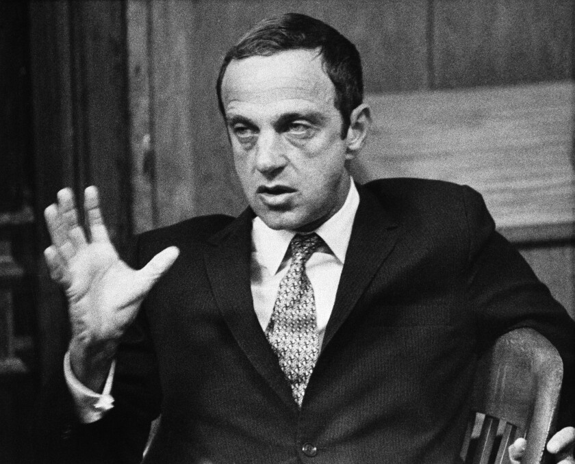 """FILE - In this Sept. 30, 1971 file photo, New York lawyer Roy Cohn, one-time counsel for the late Sen. Joseph McCarthy's Communist-hunting investigation, appears in Austin, Texas. Cohn is the subject of a documentary """"Bully. Coward. Victim. The Story of Roy Cohn."""" (AP Photo/Ted Powers, File)"""