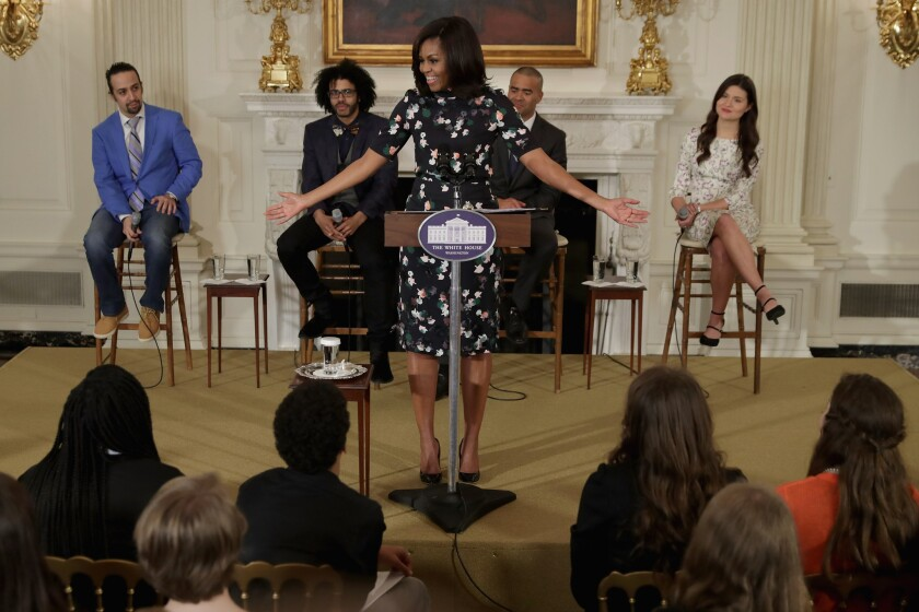 "First Lady Michelle Obama welcomes the Broadway cast of ""Hamilton,"" including, from left, Lin-Manuel Miranda, Daveed Diggs, Christopher Jackson and Phillipa Soo."