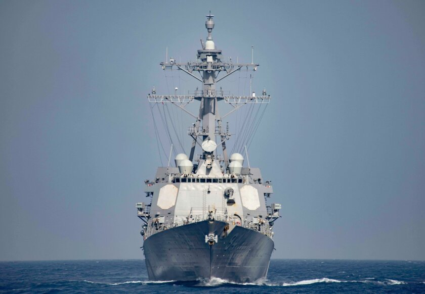 This June 24, 2016 US Navy photo shows the Arleigh Burke Class guided-missile destroyer USS Nitze (DDG 94)operating in the Mediterranean Sea.