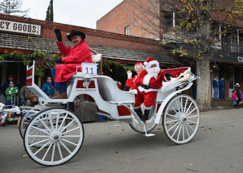 The Equestrian Parade at Columbia State Historic Park features Father Christmas.