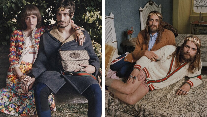 Sofia Mattioli, from left, Matteo Zoppis, Fabrizio and Stefano Occhipinti in Gucci's cruise 2018 ad
