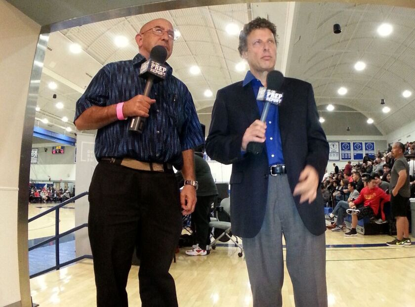 Eric Sondheimer, left, at the Fairfax State Preview Classic in January at Cerritos College.
