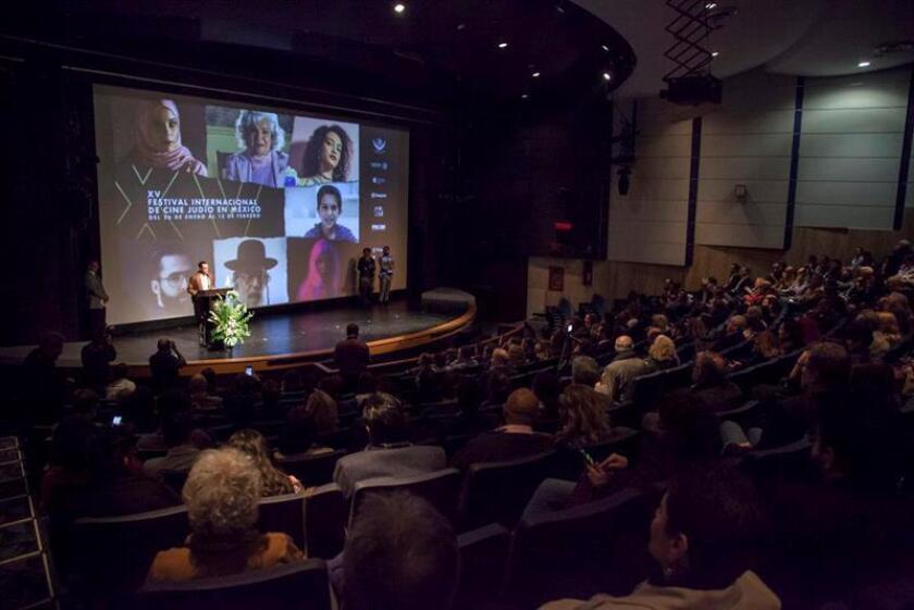 Fotografía cedida por el Festival Internacional de Cine Judío en México (FICJM) hoy, viernes 26 de enero de 2018, de la presentación del cartel del festival, durante una rueda de prensa en Ciudad de México (México). EFE/FICJM/SOLO USO EDITORIAL