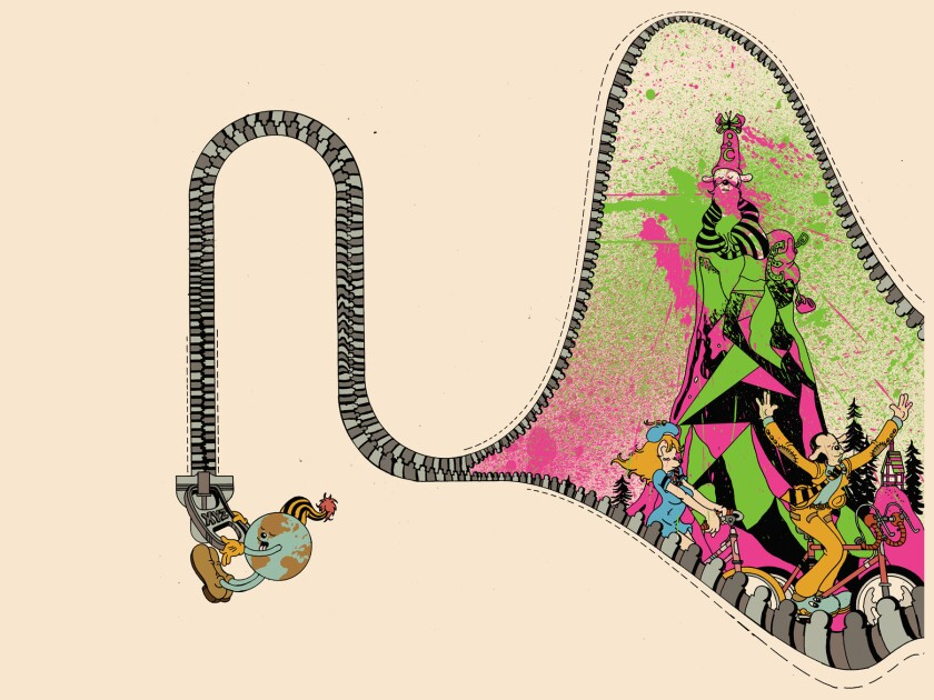 """Illustrations from """"Brian Blomerth?s Bicycle Day."""" Credit: BRIAN BLOMERTH'S BICYCLE DAY, Published b"""