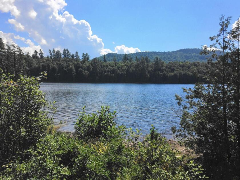 Rich Lake from a trail at the Adirondack Interpretive Center, where the 400-mile A2A Trail is proposed to begin.