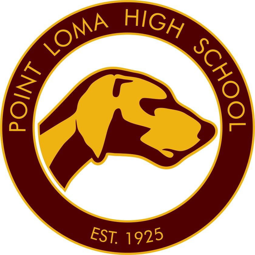 Point Loma High School's logo features the school's mascot, the Pointer.