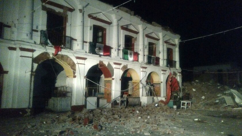 Damage to the municipal palace of Juchitan after a 8.2 magnitude earthquake in Tapachula, Mexico.