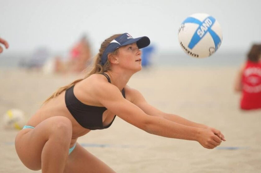 Haley Gibson, The Bishop's School student, plays for Wave beach volleyball team in Del Mar.