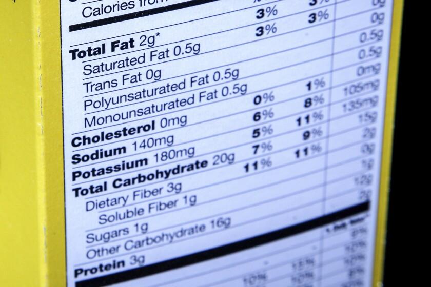 Fotografía de archivo del 23 de enero de 2014 que muestra la etiqueta de información nutricional