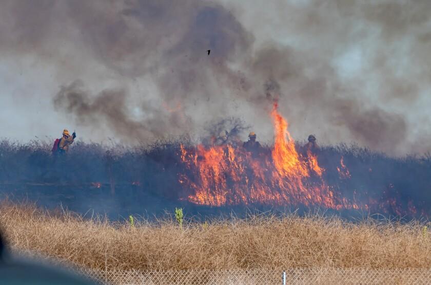 A small brush fire burns in the Bolsa Chica wetlands area of Huntington Beach.