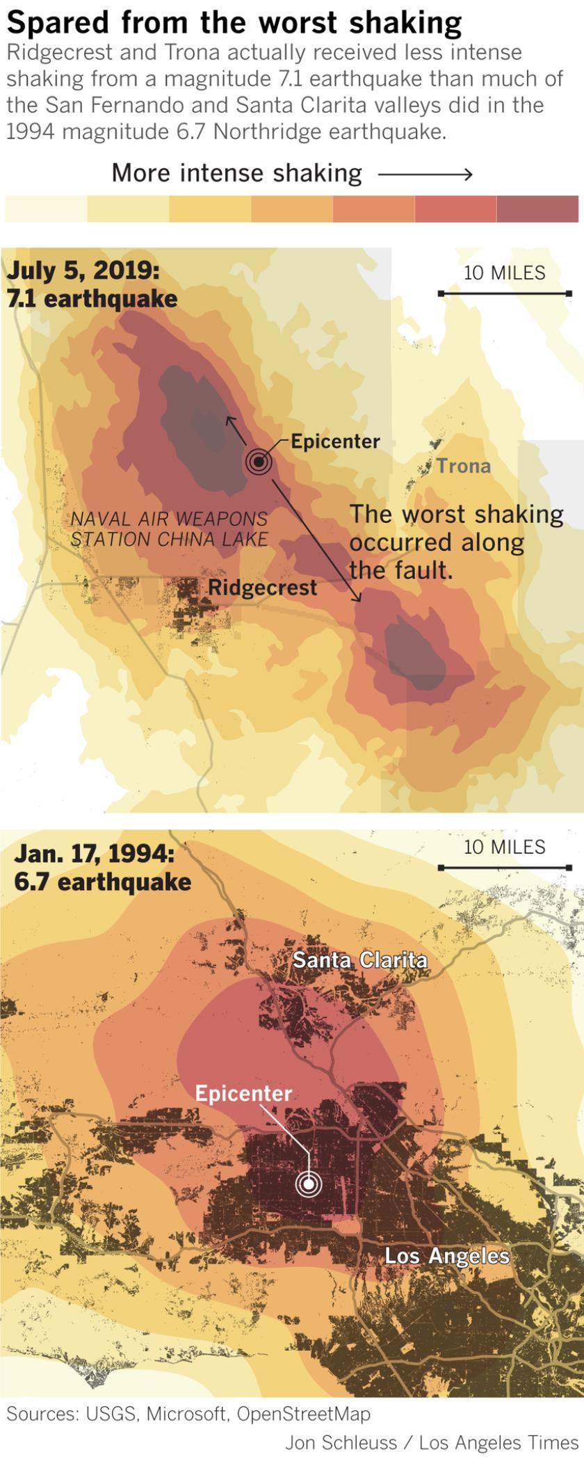 Ridgecrest earthquake shaking compared to Northridge