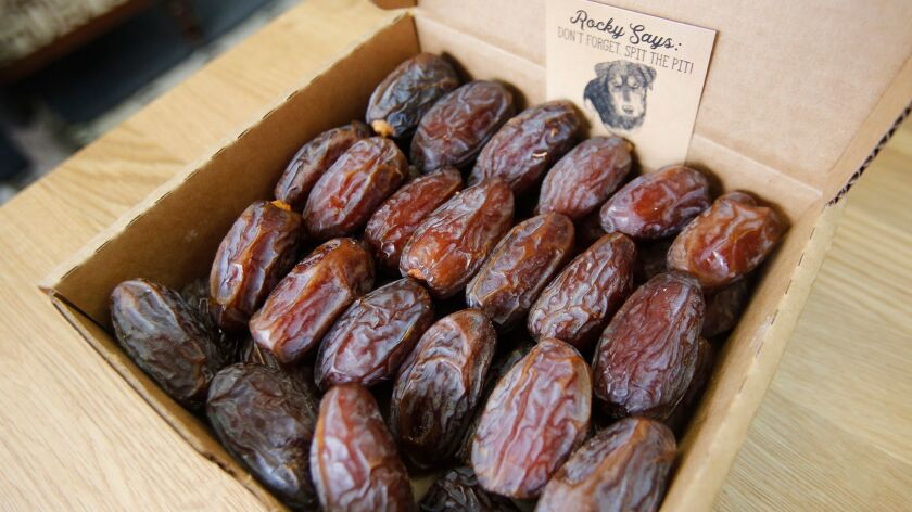 The plump, hand picked dates from Rancho Meladuco Date Farm, at the Newport Beach store.