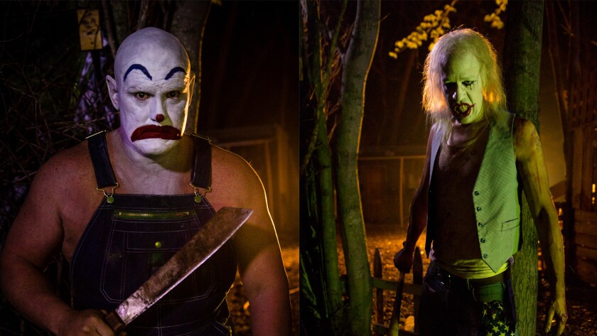 "Chris Hahn, left, as Machete Clown, and David Greathouse, as Baseball Clown in the movie ""ClownTown."""