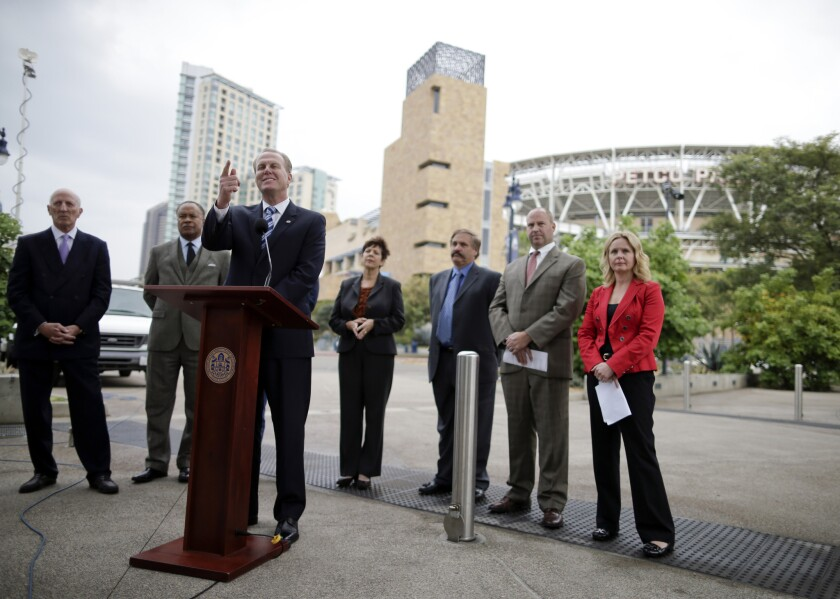 San Diego Mayor Kevin Faulconer speaks during a Jan. 30 news conference about the city's efforts to build a new stadium for the Chargers.