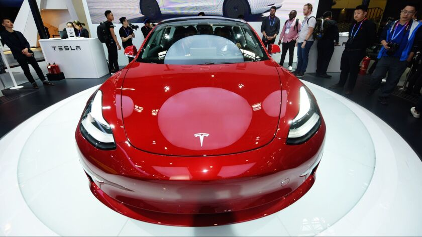 A Tesla Model 3 on display during the Auto China 2018 show in Beijing.