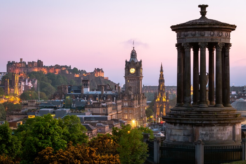 From atop Calton Hill at sunset, Edinburgh promises memorable culinary experiences.