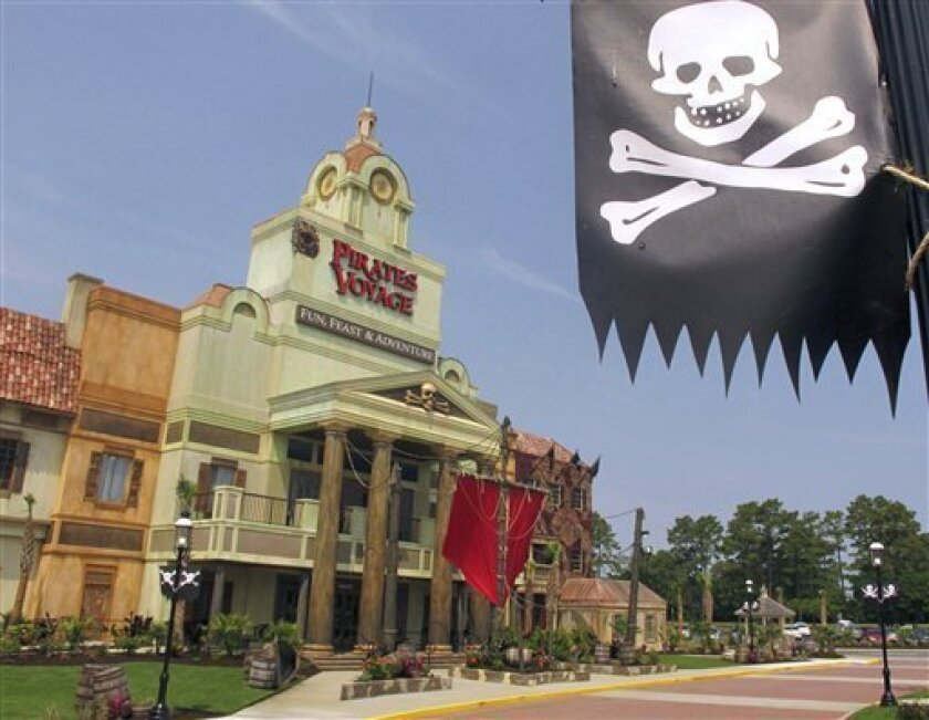 This Friday, June 3, 2011 photo shows the exterior of Dolly Parton's Pirates Voyage dinner theater in Myrtle Beach, S.C. The theater, which replaces her western-themed Dixie Stampede, is expected to open this weekend. (AP Photo/Bruce Smith)