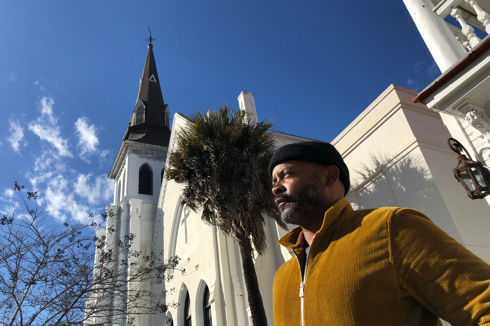 Reporter Tyrone Beason stands outside Mother Emanuel AME Church in Charleston.