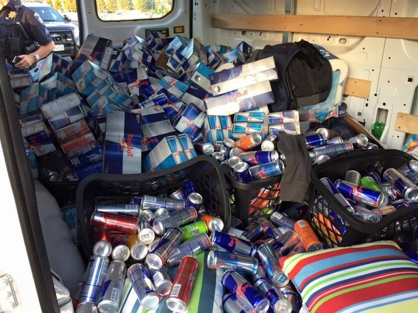 The van contained a big assortment of Red Bull.