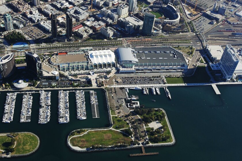 The San Diego Convention Center is surrounded by the Marriott, Manchester Grand Hyatt and Bayfront Hilton.