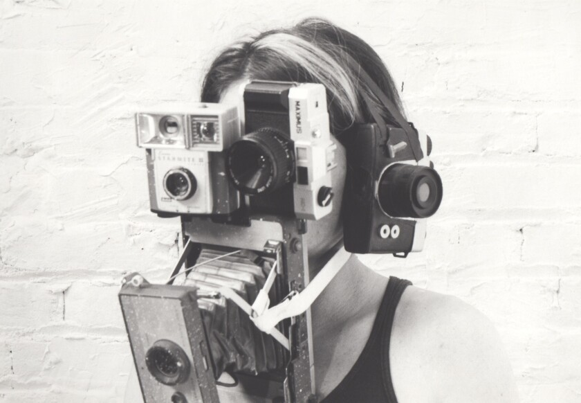Kim Abeles 1990 self-portrait at PØST in Los Angeles.