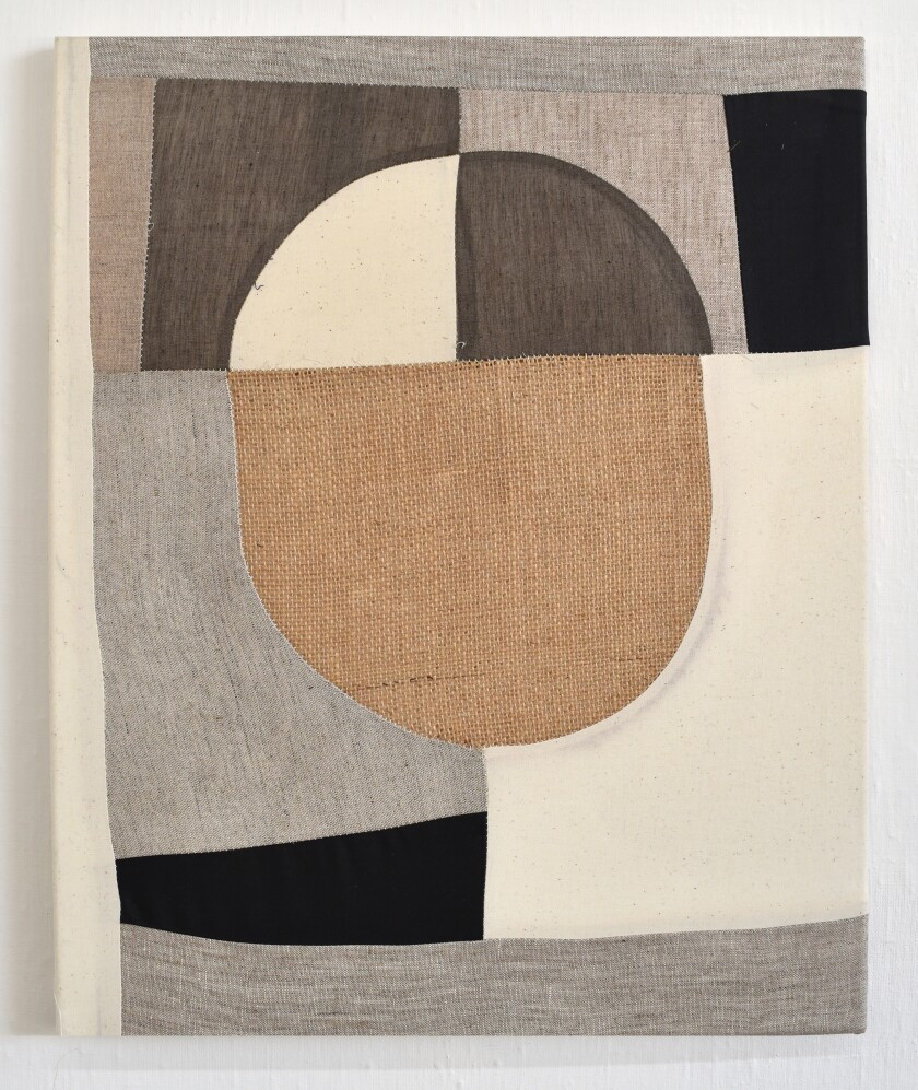 Untitled 2020 piece by Tanja Rector. Burlap, textiles and archival gel medium, 20 inches by 16 inches