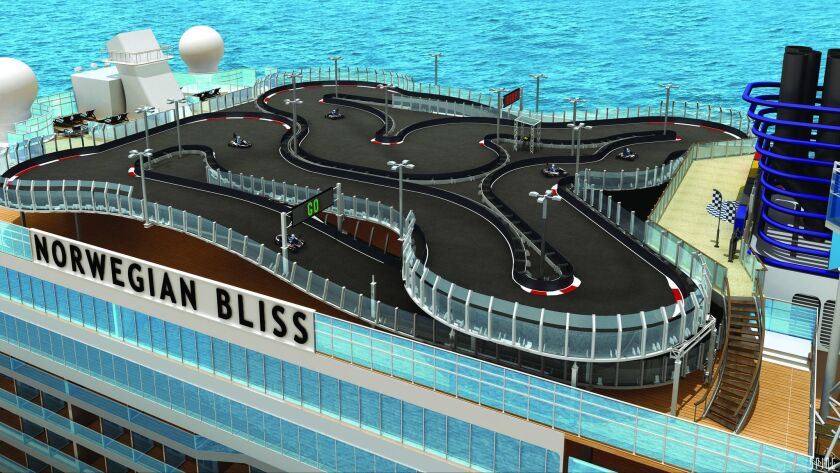 A rendering of the two-story electric race car track on the upcoming Norwegian Bliss cruise ship.