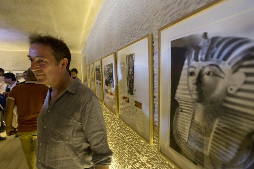 Adam Lowe, director of Factum Arte, Madrid, welcomes guests at the opening of an exact replica of the Tomb of Tutkankhamun in Luxor, Egypt, Wednesday, April 30, 2014. The replica aimsto help preserve the original, more than 3,300-year-old tomb from deterioration caused by tourist visitors. (AP  Ph