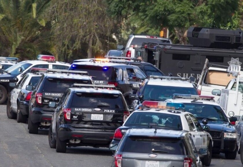 The San Diego Police Department and SWAT team respond to a call.