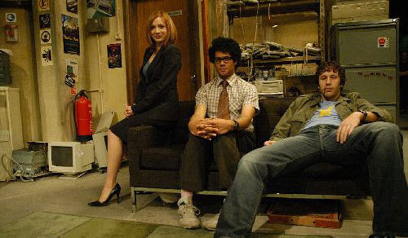 """From left, Katherine Parkinson, Richard Ayoade and Chris O'Dowd of """"The IT Crowd."""""""