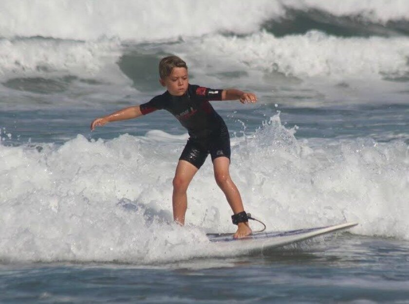 The temperature reached the 80s on Sunday along the San Diego County coastline on Sunday, including at Solana Beach, where this young gun caught a nice wave.
