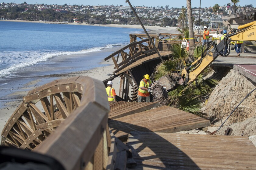 A boardwalk that was damaged in a storm at Capistrano Beach