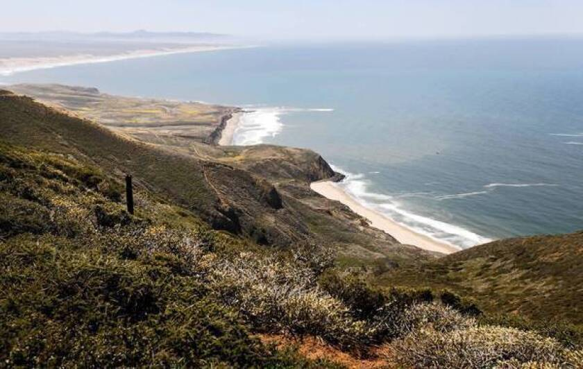 The view south from a ridgeline on the northern edge of Vandenberg Air Force Base. Environmental groups oppose a plan that would allow land-based drilling at Vandenberg.
