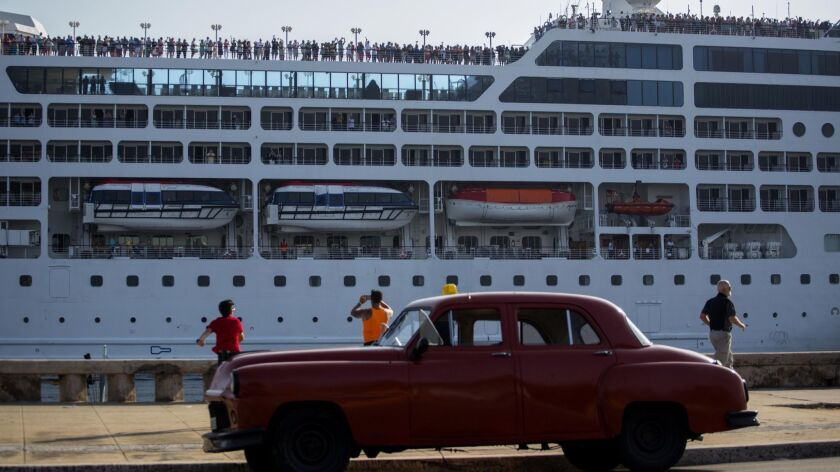 A 2016 file photo, shows the a Carnival cruise ship arriving in Havana, Cruises are banned from Cuba under new regulations.