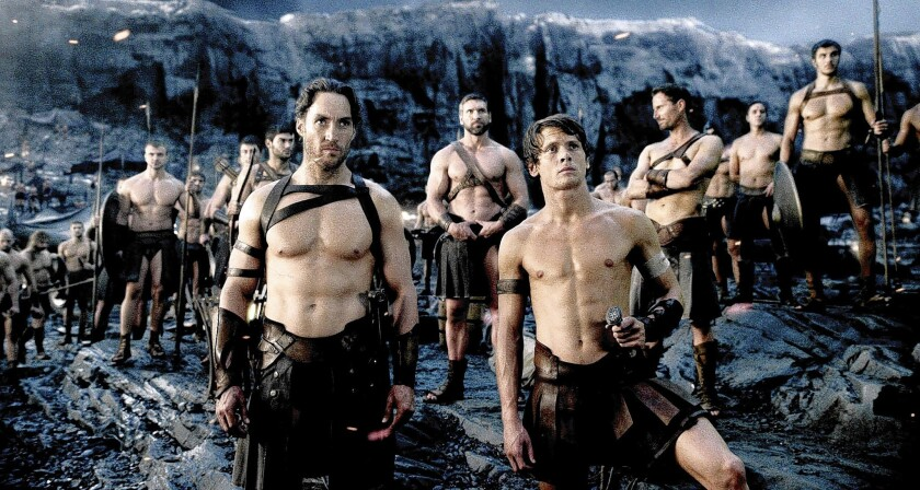 """Callan Mulvey, front left, and Jack O'Connell worked hard to look good shirtless in """"300: Rise of an Empire."""""""