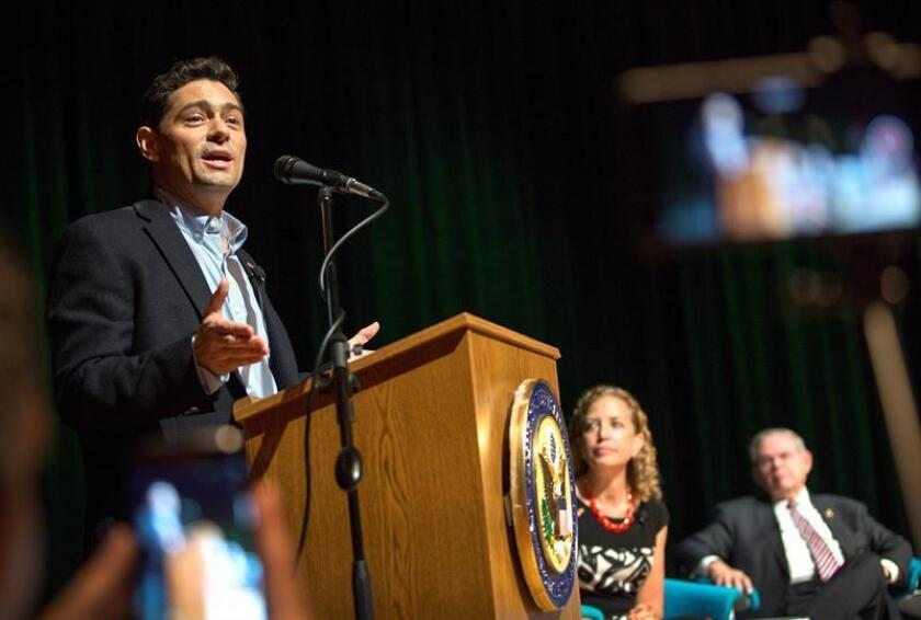 Venezuelan 'interim President' Juan Guiado's Charge d'Affaires to the US, Ambassador Carlos Vecchio, speaks during the forum to discuss the ongoing crisis and possible next steps for a democratic transition at Cypress Bay High School in Weston, Florida. EFE/EPA/File